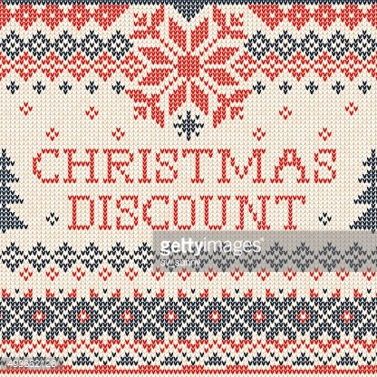 Christmas discount: Scandinavian style knitted embroidery