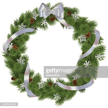 Vector Christmas Wreath with Snowflakes