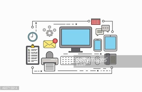 Vector modern thin line flat design of workplace