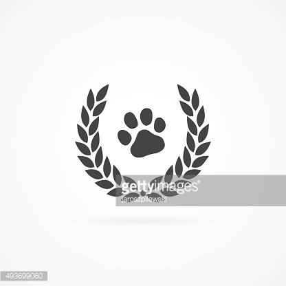 Simple icon of paw in wreath shape.