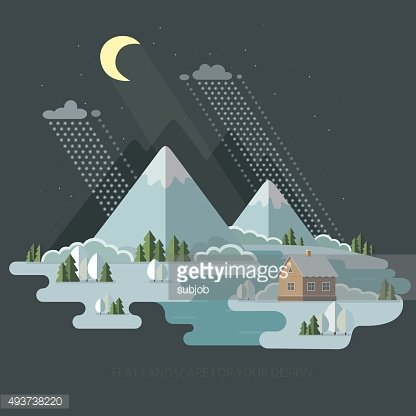 Night winter landscape mountains snow-capped hills. flat vector illustration