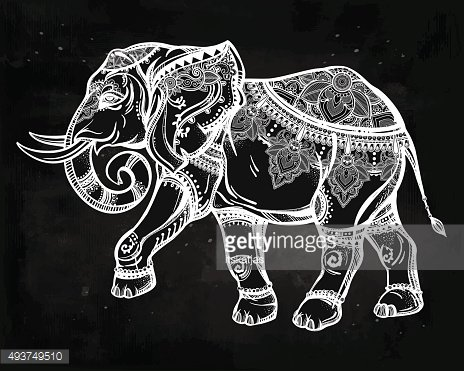 Hand drawn ornate elephant illustration.