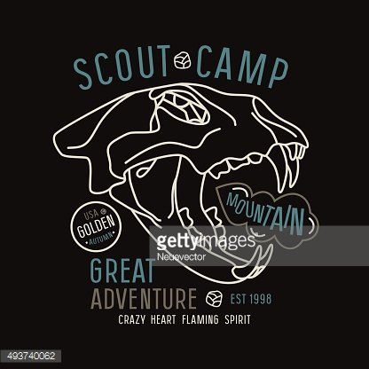 Scout camp emblem in thin line style