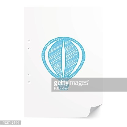Blue handdrawn Air Balloon illustration on white paper sheet wit