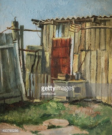 Village courtyard. Dog house and shed. Oil painting