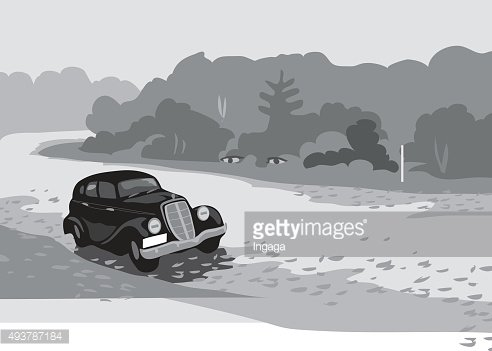 Black and white movie old car. Vector