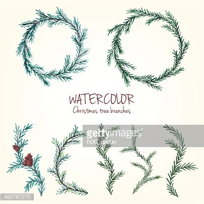 Watercolor Christmas Tree branches, Spruce wreath, fir tree