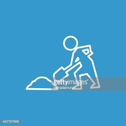 construction works outline icon, isolated, white on the blue bac