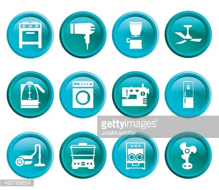 Buttons with silhouette domestic equipment icons