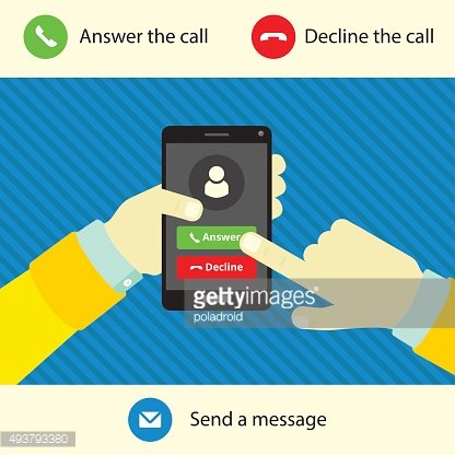 Ringing phone in hand, options