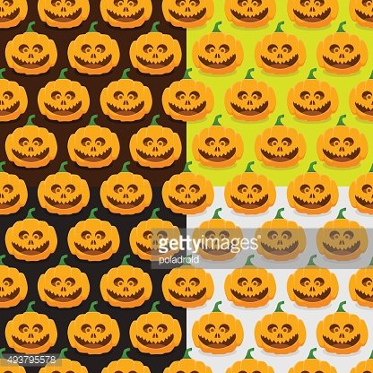 Set of seamless patterns with pumpkins for Halloween