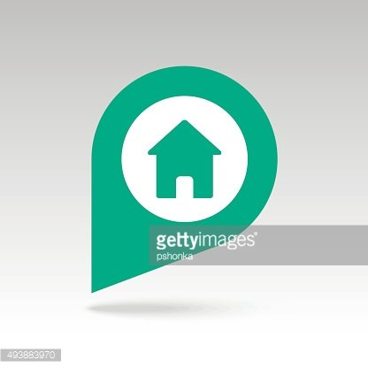 Home pin map icon. Map pointer, markers.