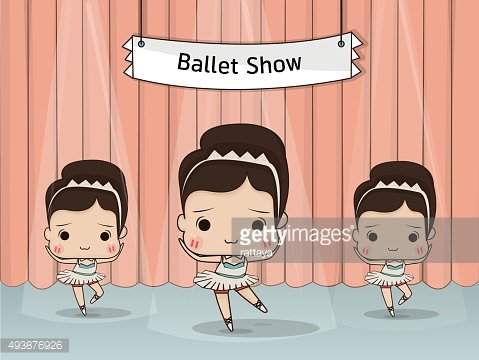 Little girl ballet dancing on stage