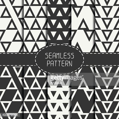 Set of line hipster seamless pattern with triangle. Wrapping paper.