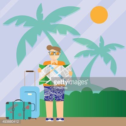 Tourist with map and suitcases.