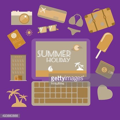 Travel planning summer holiday icon set.