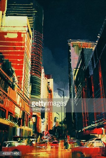 city street with office buildings,illustration