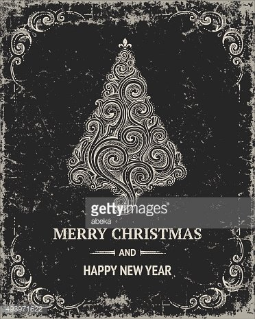 Hand drawn greeting card Merry Christmas and Happy New Year