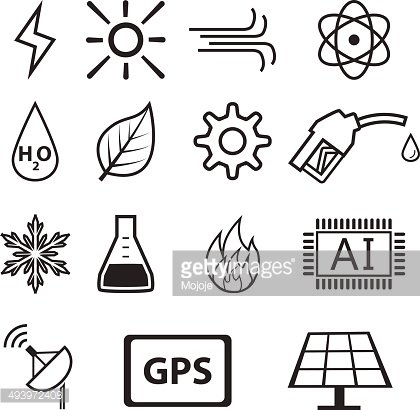 Set of power and energy system in linear icons