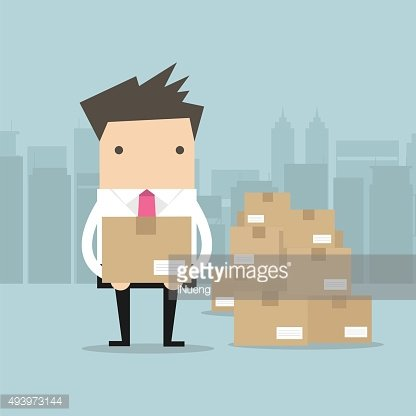 Businessman holding a box for shipping
