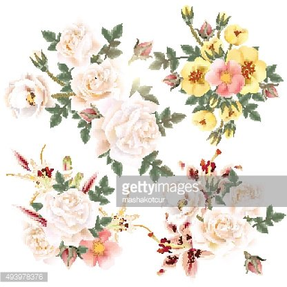 Collection of realistic flowers roses and lilies