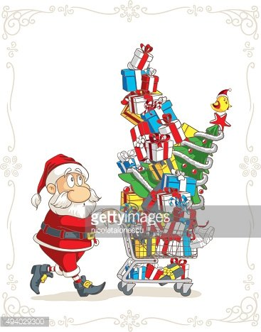 Santa Claus with Shopping Cart Vector Cartoon