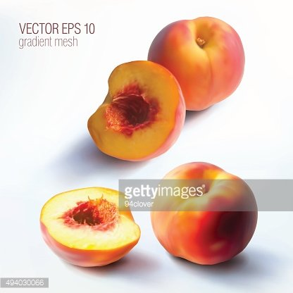 set of isolated photorealistic peaches