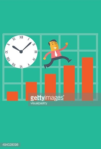 Businessman jumping over bar charts racing with time
