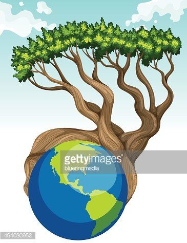 Save world theme with earth tree