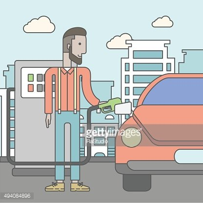Man filling up fuel into car