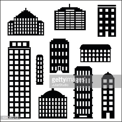 Urban building silhouette set