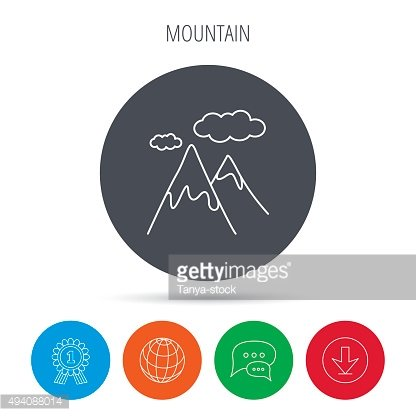 Mountain icon. Hills and clouds sign.