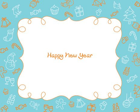new year decoration outline icons border blue background