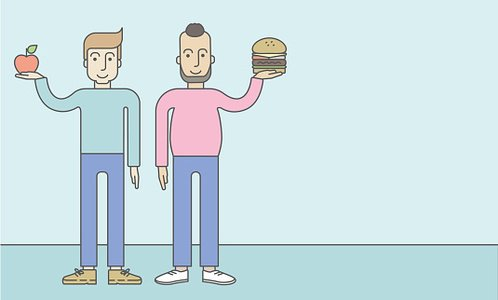 Men standing with hamburger and apple