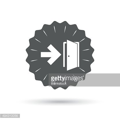 Emergency exit sign icon. Door with right arrow