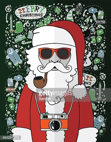 Merry Christmas background with snowman in hipster style