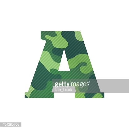 Letter A with green camouflage.