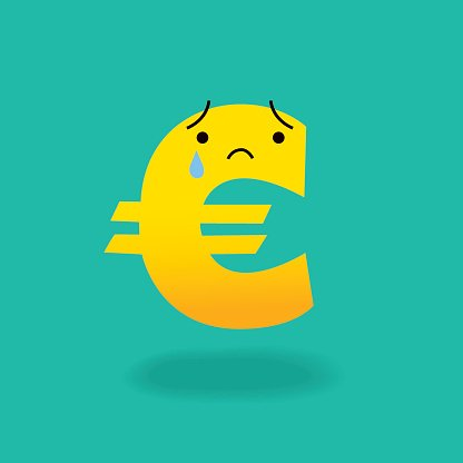 Crying Euro Sign Cartoon Character Economics Money Concept