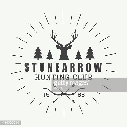 Hunting logo in vintage style. Vector illustration.