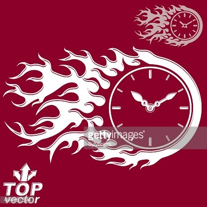 Vector timer with burning flame, time is running out concept,