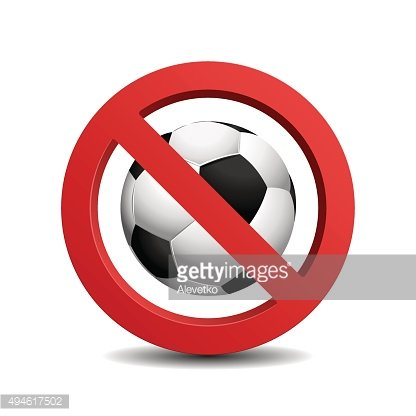 No play in ball sign, isolated on white background
