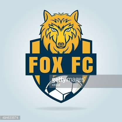 Football logo design with wolf graphic , soccer shield , ...