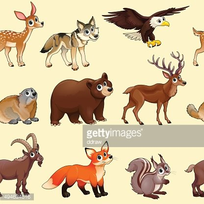 Cartoon mountain animals pattern