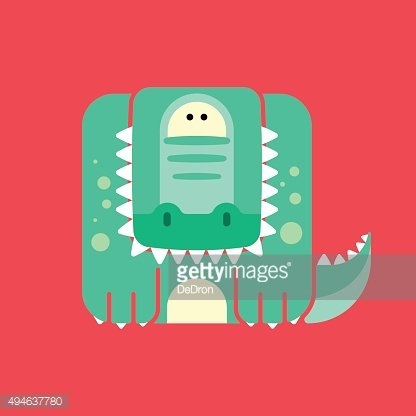 Flat square icon of a cute crocodile