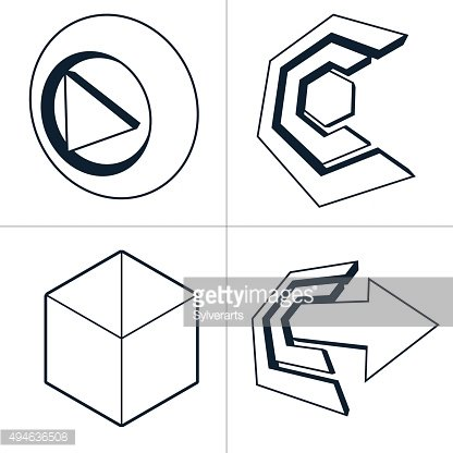 Set of three-dimensional abstract icons, special arrows