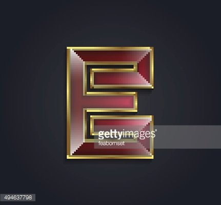 Vector graphic ruby alphabet with gold rim / letter E