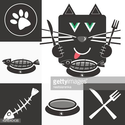 Hungry cat pet shop and cat accessories logo