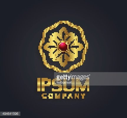 Decorative vector graphic gold and ruby flower symbol