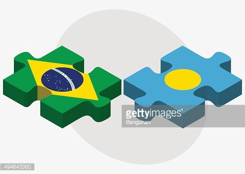 Brazil and Palau Flags