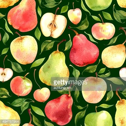 Pattern with watercolor apples and pears